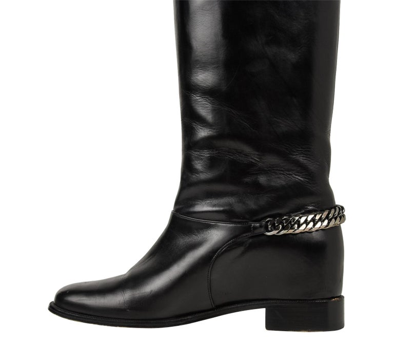 brand new c0bfa cd3d0 Christian Louboutin Boot Black Cate Flat Knee High Chain Detail 39 / 9