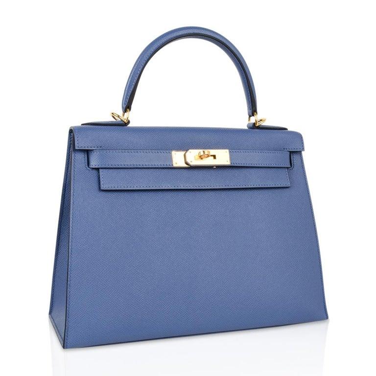 Hermes Kelly 28 Bag Ier Blue Brighton Epsom Gold Hardware For 2