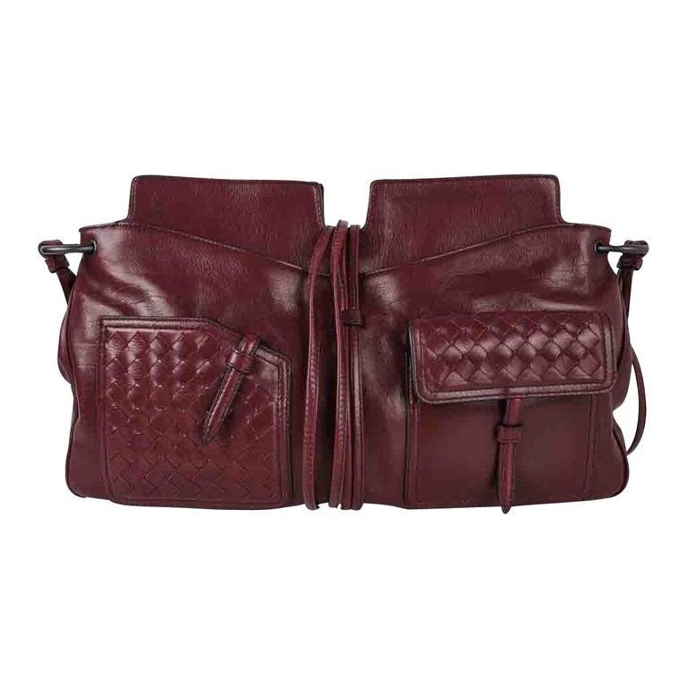 Bottega Veneta Bag Intrecciato Front Pockets Bordeaux Shoulder Tote Style