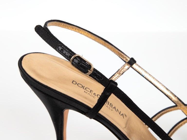 Dolce&Gabbana Shoe Strappy Black Satin Mint 39.5 / 9.5 For Sale 2