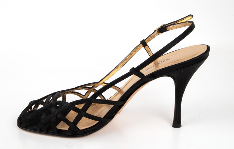 Dolce&Gabbana Shoe Strappy Black Satin Mint 39.5 / 9.5 For Sale 1