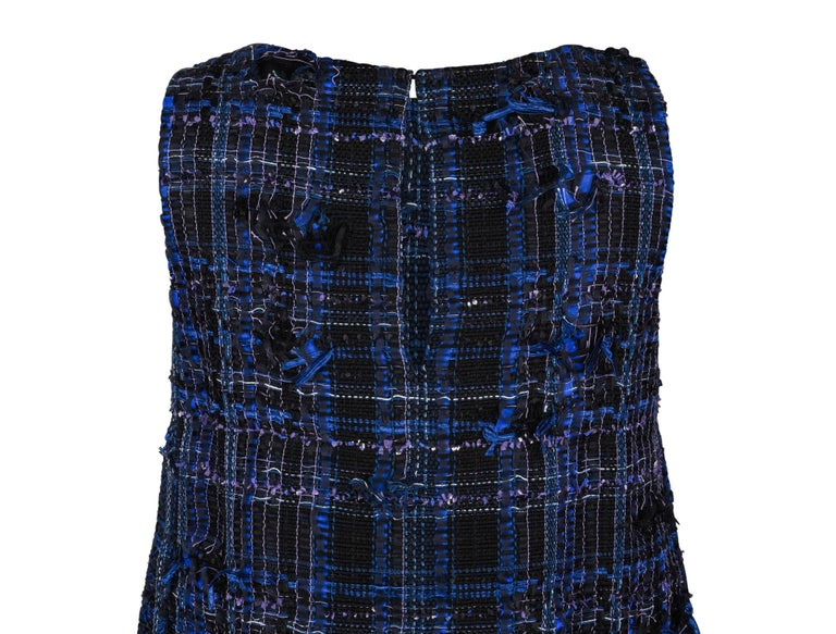 Chanel 14S Dress Black / Blue Fantasy Tweed Sleeveless 36 / 4 nwt For Sale 3