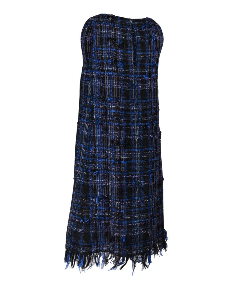 Chanel 14S Dress Black / Blue Fantasy Tweed Sleeveless 36 / 4 nwt For Sale 6