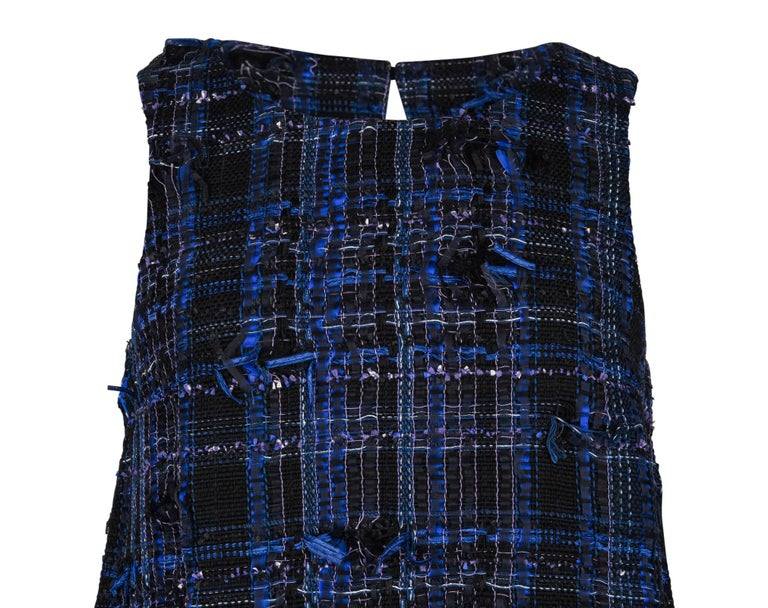 Chanel 14S Dress Black / Blue Fantasy Tweed Sleeveless 36 / 4 nwt For Sale 1