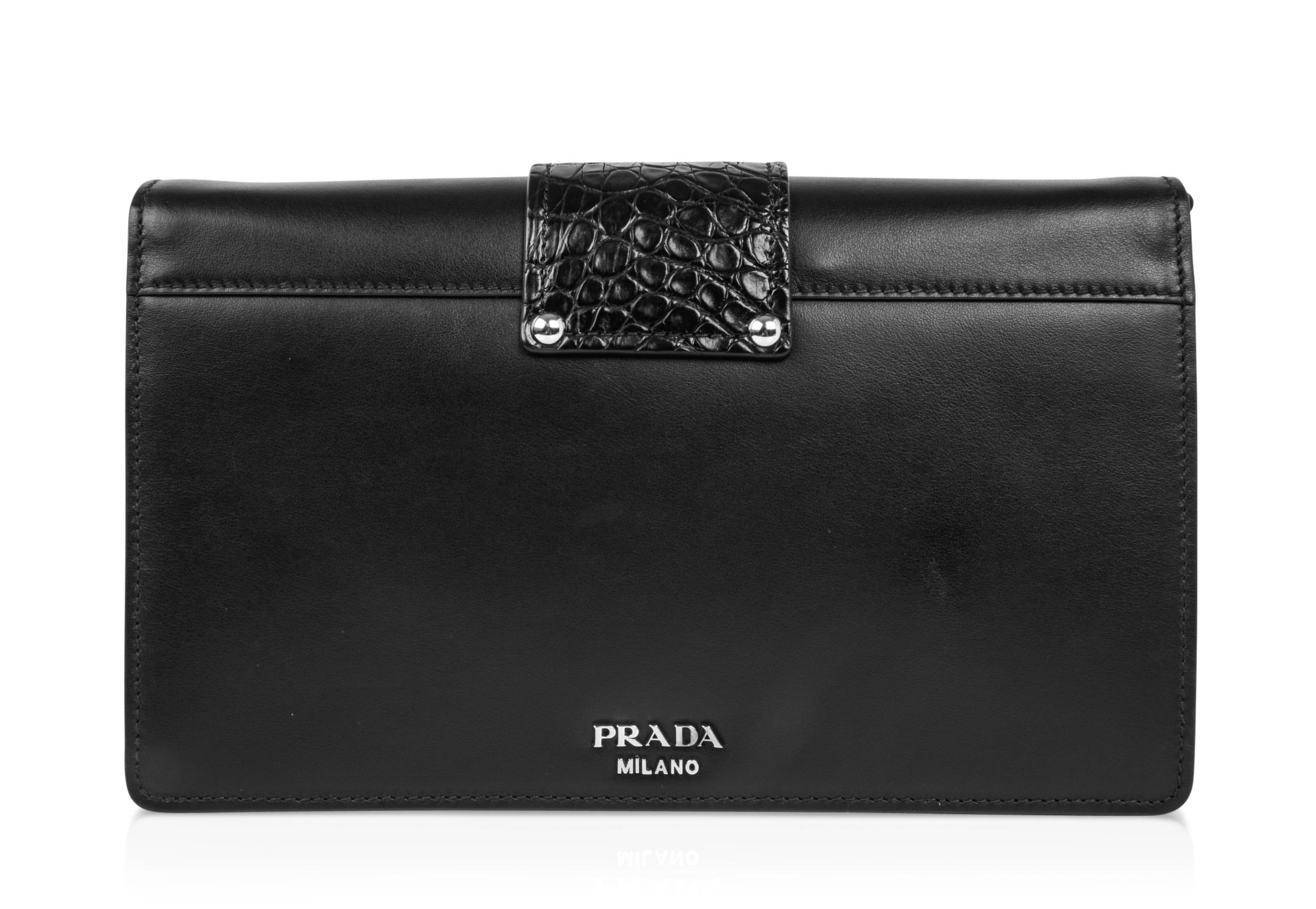 107632c8552 ... spain prada bag plex ribbon clutch shoulder black w crocodile and leather  ribbon for sale c9229