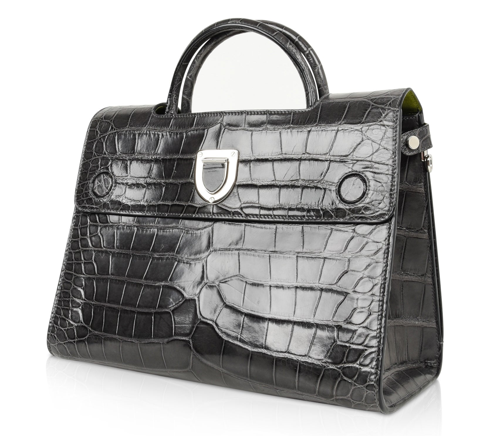 20dc6b7032ba Christian Dior Bag Diorever Matte Gray Crocodile Tote Shoulder Strap For  Sale at 1stdibs