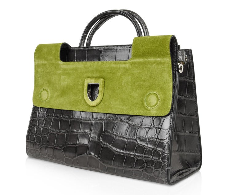 176d24590ea2 Christian Dior Bag Diorever Matte Gray Crocodile Tote Shoulder Strap In  Excellent Condition For Sale In