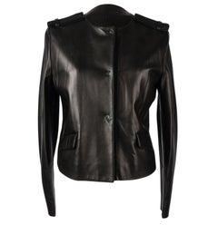 Prada Jacket Black Lambskin Grosgrain Epaulets 42 / 8 Mint