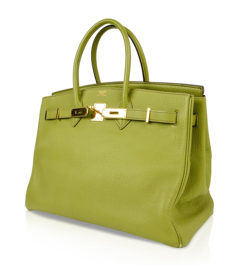 f5d681626cb3 Guaranteed authentic Hermes Birkin 35 no longer produced Chartreuse. Togo  leather lush with Gold hardware