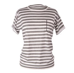 Brunello Cucinelli Top Cashmere Short Sleeve Gray and White Stripe M