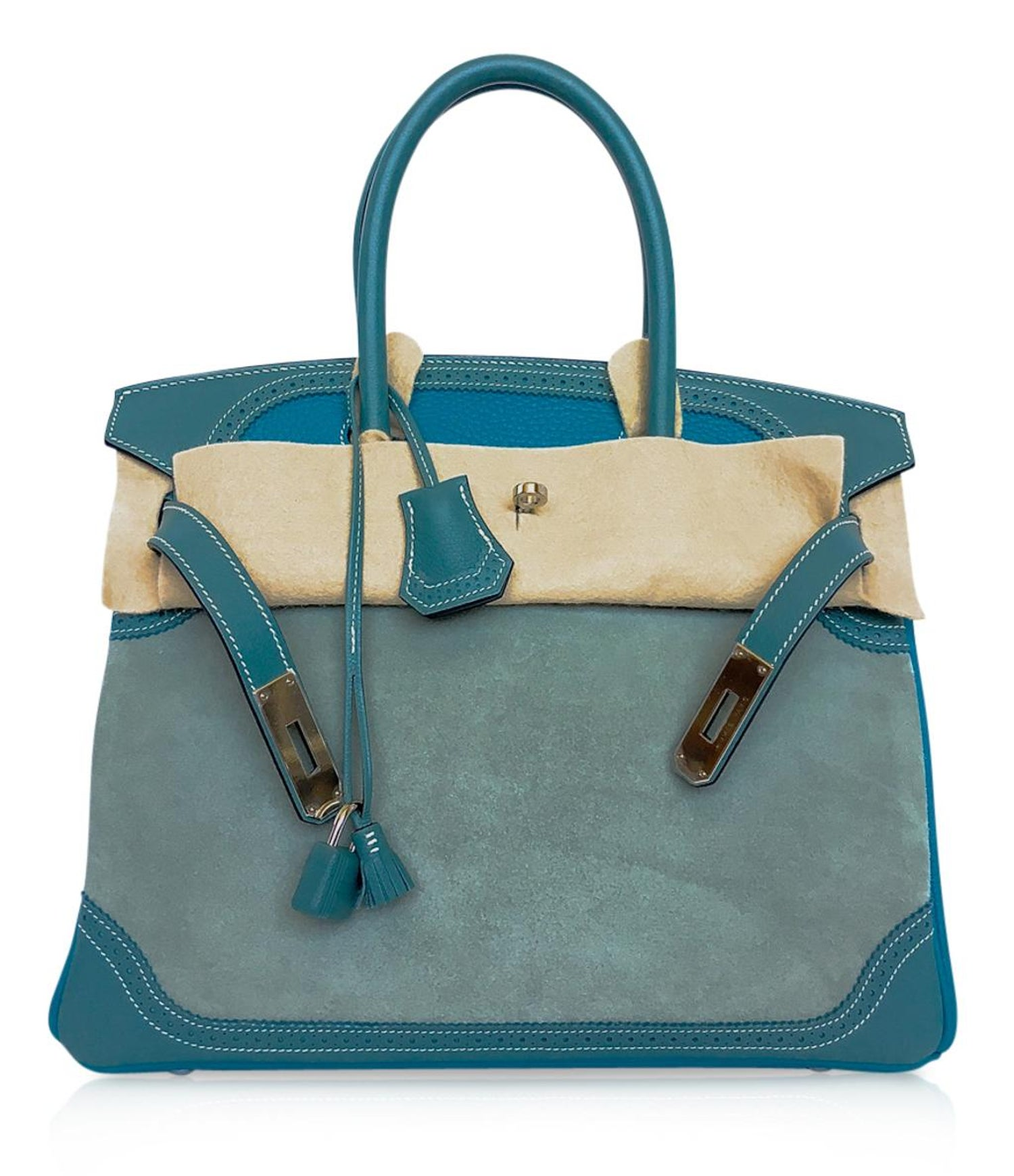 ec1b737c83 Hermes Birkin 30 Bag Grizzly Doblis Ghillies Ciel Turquoise Limited Edition  New at 1stdibs