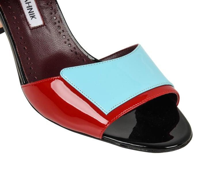 d541f25b1cf76 Gray Manolo Blahnik Shoe Multi Coloured Patent Leather Red Blue Black  Sandal 40 / 10 For