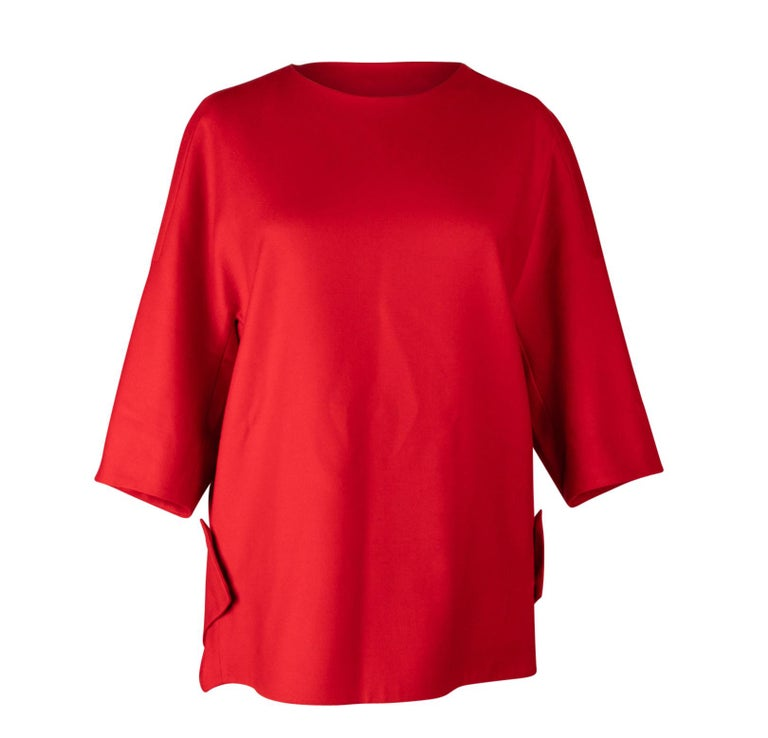 34859ee368726 Gucci Pleated Silk Blouse. HomeFashionClothingBlouses. Jil Sander Top  Tomato Red Cashmere   Wool Minimalist Sleek Cut 36   6 For Sale