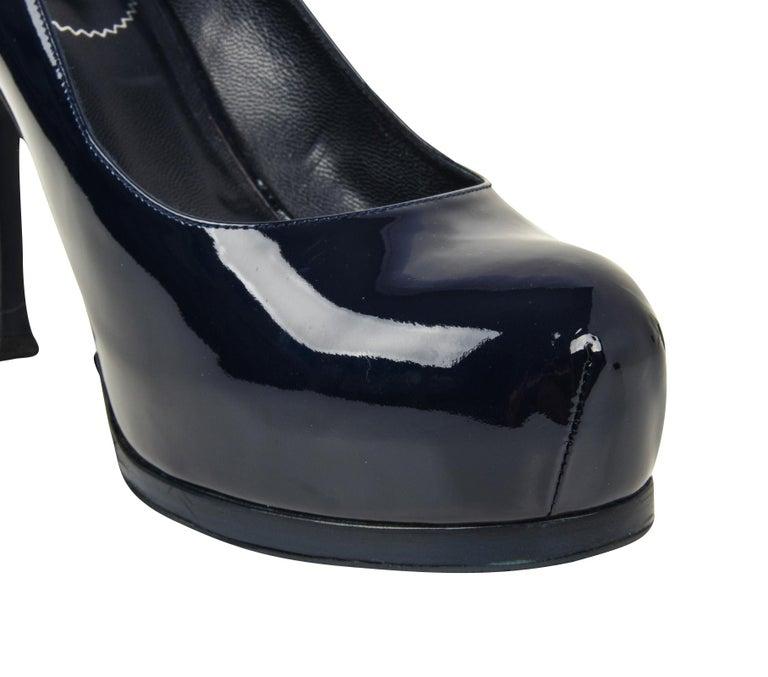 5604652b0c95e Black YSL Saint Laurent Shoe Navy Blue Patent Leather Tribute Pump 39   9  New For