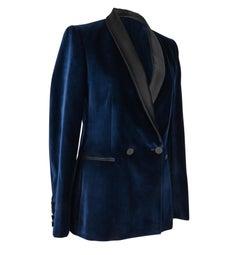 Stella McCartney Jacket Tuxedo Style Navy Velvet Black Trim 38 / 6