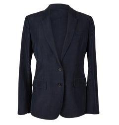 Burberry Jacket Ink Navy Silk Blazer Cuffs w/ Printed Interior Silk Lining 42
