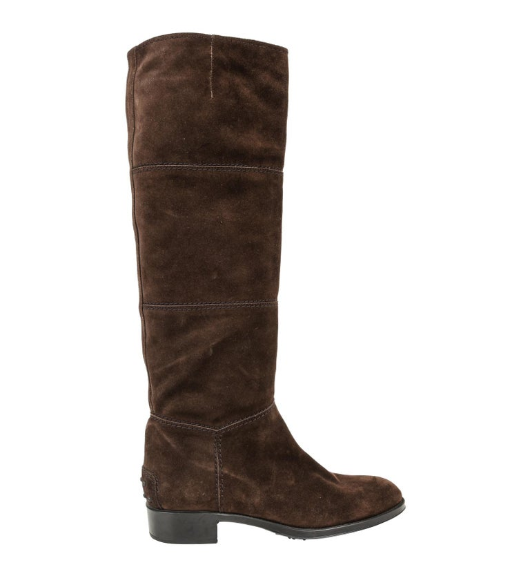 Black Tod's Boot Brown Suede Flat Knee High 38.5 / 8.5 new For Sale