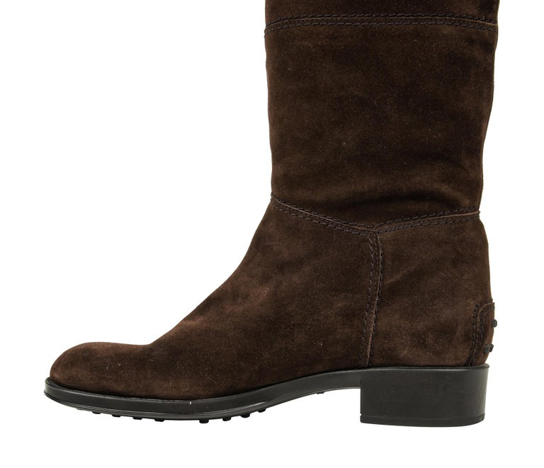 Tod's Boot Brown Suede Flat Knee High 38.5 / 8.5 new For Sale 1