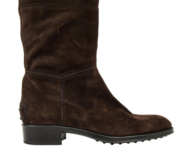 Women's or Men's Tod's Boot Brown Suede Flat Knee High 38.5 / 8.5 new For Sale