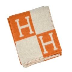 Hermes Blanket Avalon I Signature H Orange Throw Blanket
