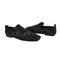 Celine Shoe Flat Woven Leather Square Toe Black 38.5 / 8.5 New