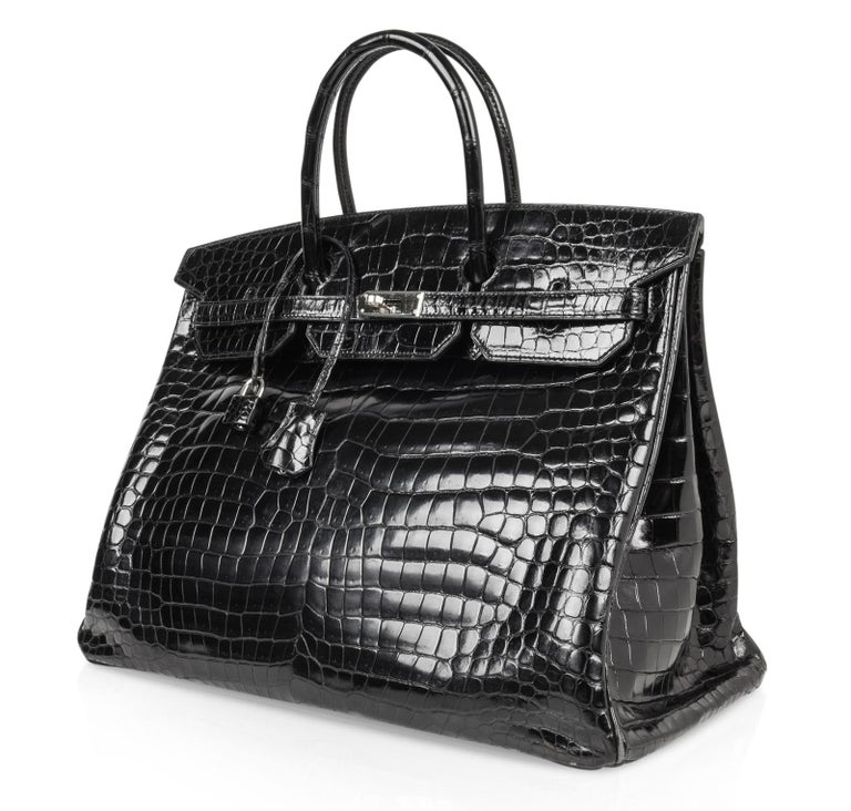 062d30b295a Hermes Birkin 40 Bag Black Porosus Crocodile Palladium For Sale at ...