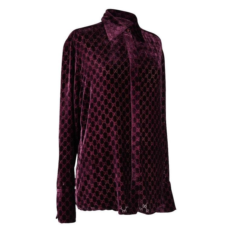 a4b65037 Gucci Top Burgundy GG Monogram Burnout Velvet Blouse 44 / 10 For Sale