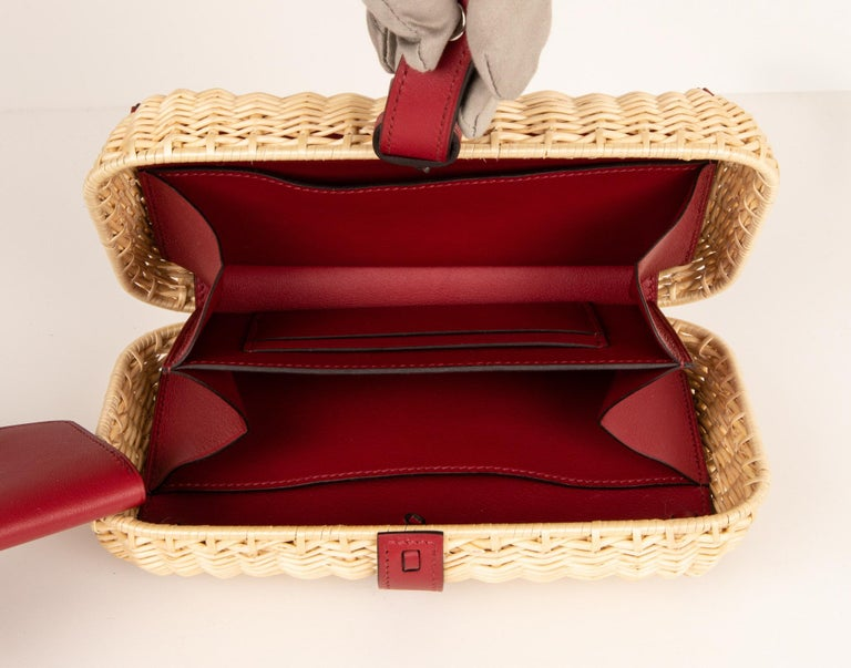 Hermes Bag Picnic Osier Wicker Clutch Rouge H New For Sale 6
