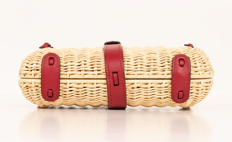 Hermes Bag Picnic Osier Wicker Clutch Rouge H New For Sale 8