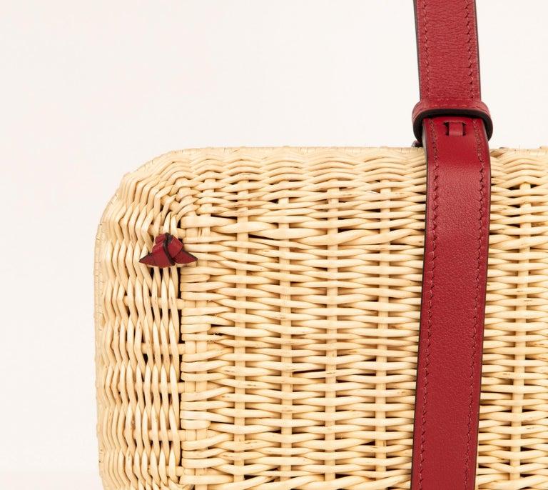 Orange Hermes Bag Picnic Osier Wicker Clutch Rouge H New For Sale