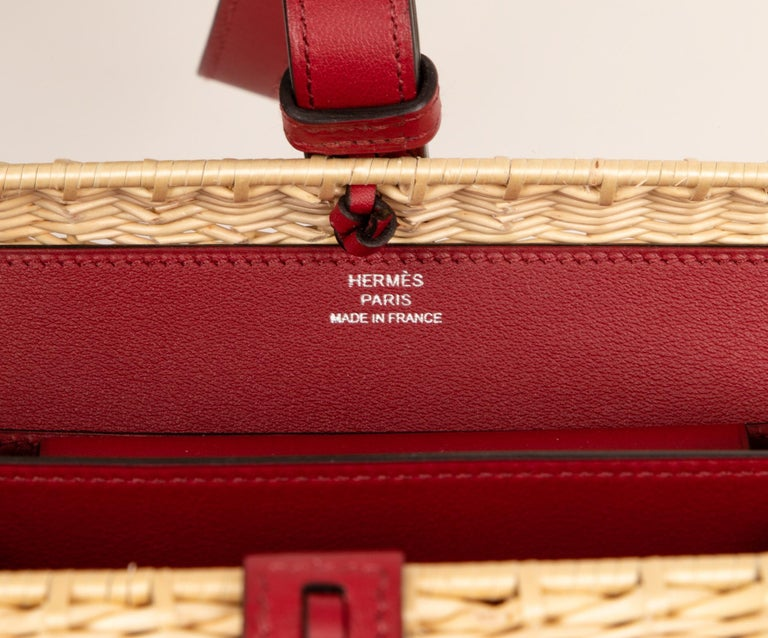 Hermes Bag Picnic Osier Wicker Clutch Rouge H New For Sale 5