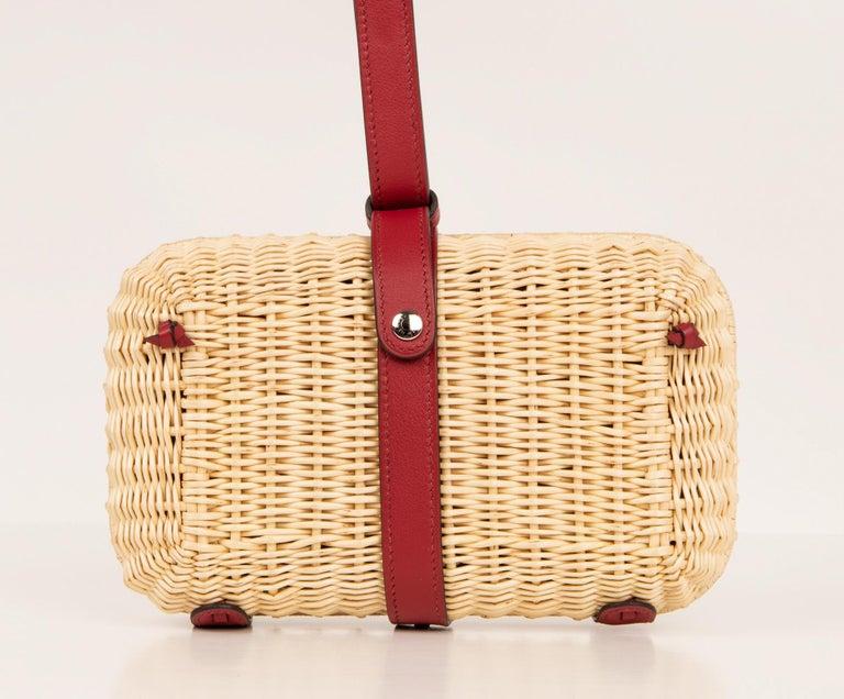 Women's Hermes Bag Picnic Osier Wicker Clutch Rouge H New For Sale
