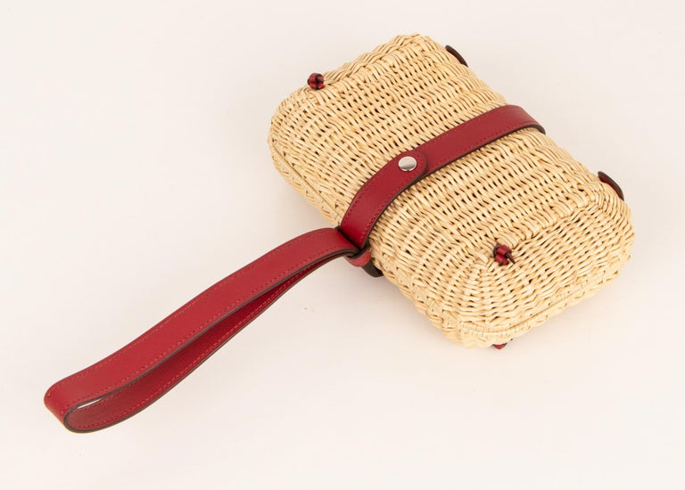 Hermes Bag Picnic Osier Wicker Clutch Rouge H New For Sale 1