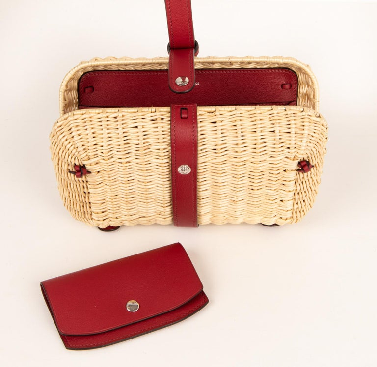 Hermes Bag Picnic Osier Wicker Clutch Rouge H New For Sale 2