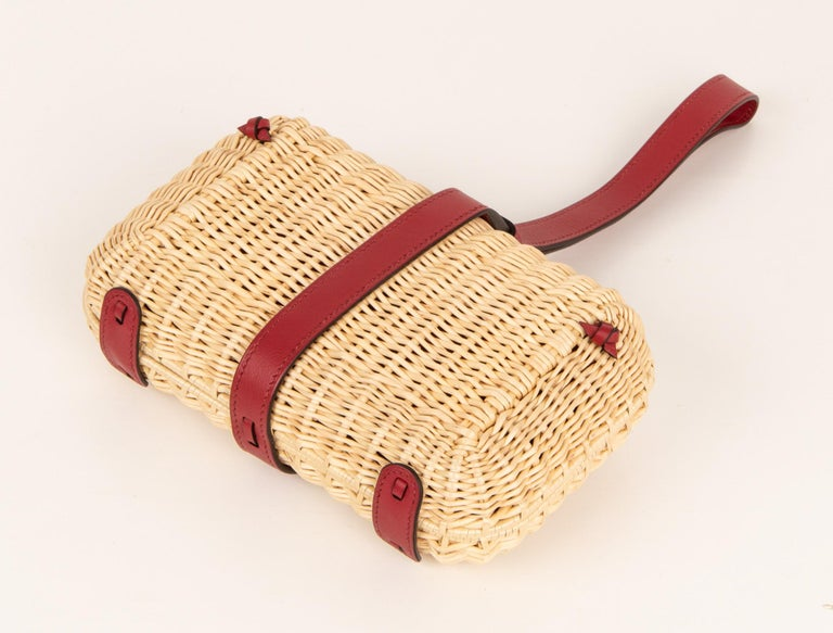 Hermes Bag Picnic Osier Wicker Clutch Rouge H New For Sale 4