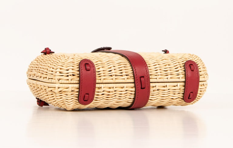 Hermes Bag Picnic Osier Wicker Clutch Rouge H New For Sale 9