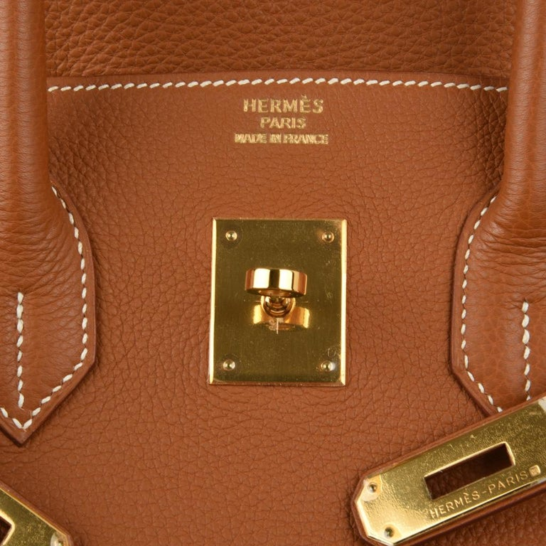 Hermes Birkin 35 Bag Gold Togo Gold Hardware Iconic CLassic In New Condition For Sale In Miami, FL