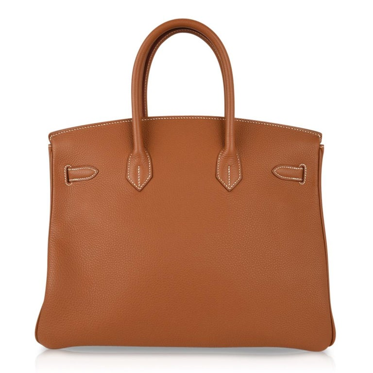 Hermes Birkin 35 Bag Gold Togo Gold Hardware Iconic CLassic For Sale 5
