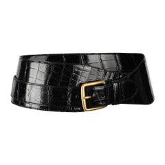Ralph Lauren Belt Black Alligator Double Wrap Brass Buckle M new