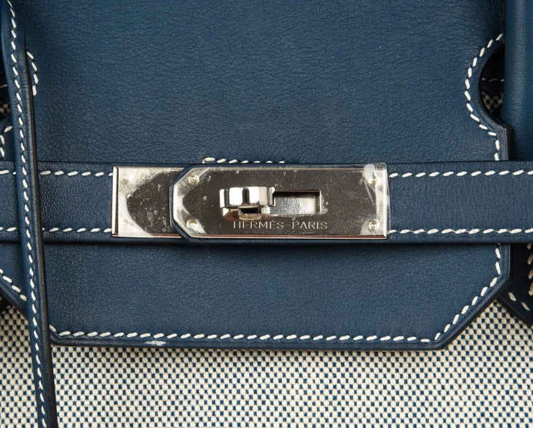 Guaranteed authentic limited edition Hermes Birkin 40 Ghillies bag featured in Blue de Prusse with Blue Toile. Exquisite combination with Swift leather. Comes with lock, keys, clochette, sleepers.  Just returned from Hermes Spa. Some light marks on