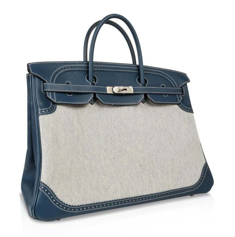 Hermes Birkin 40 Ghillies Bag Blue de Prusse w/ Blue Toile Palladium Hardware In Good Condition For Sale In Miami, FL
