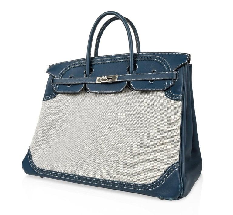 b8a65a1adf51 Women s or Men s Hermes Birkin 40 Bag Ghillies Blue de Prusse w  Blue Toile  Palladium