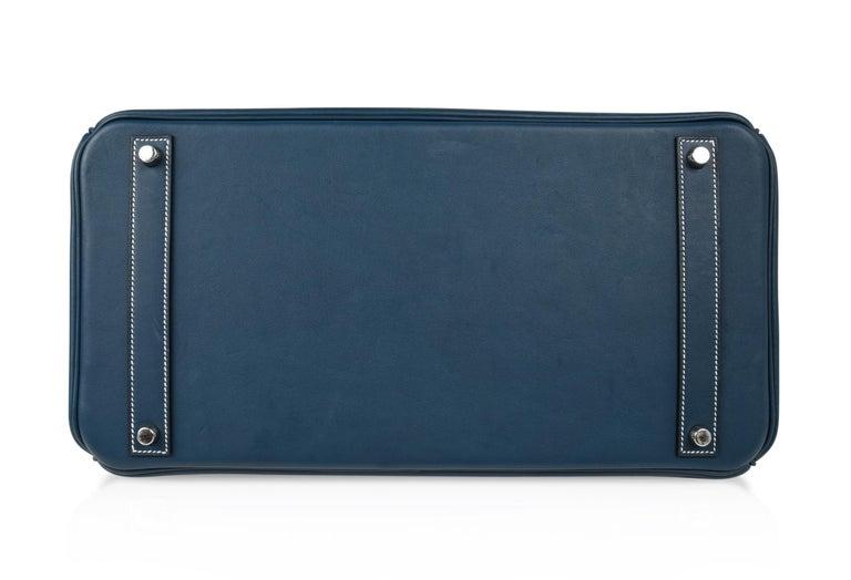 Hermes Birkin 40 Ghillies Bag Blue de Prusse w/ Blue Toile Palladium Hardware For Sale 5