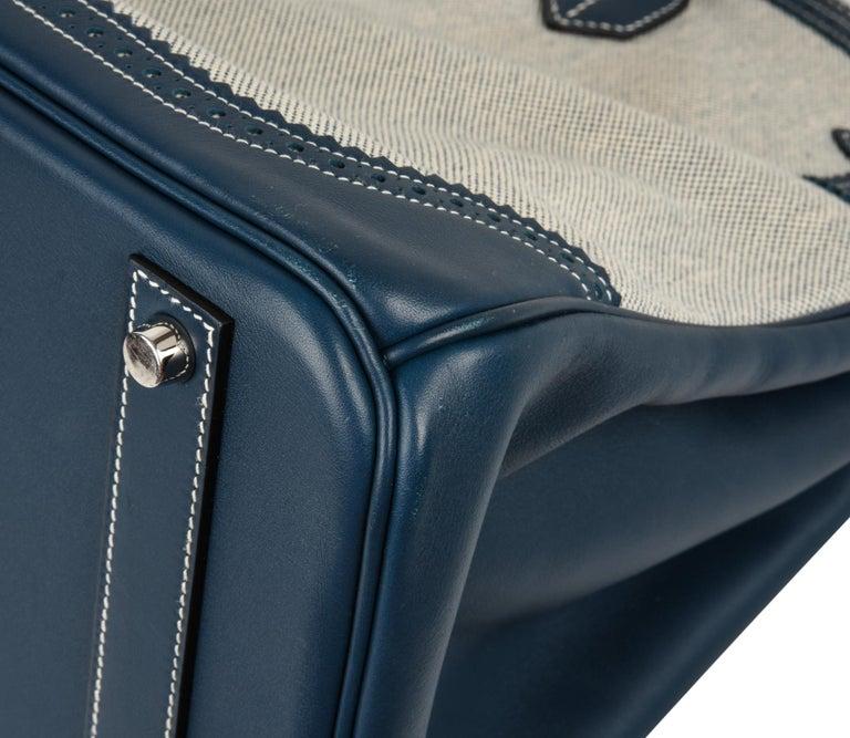 ebd2145422bd Hermes Birkin 40 Bag Ghillies Blue de Prusse w  Blue Toile Palladium  Hardware For Sale