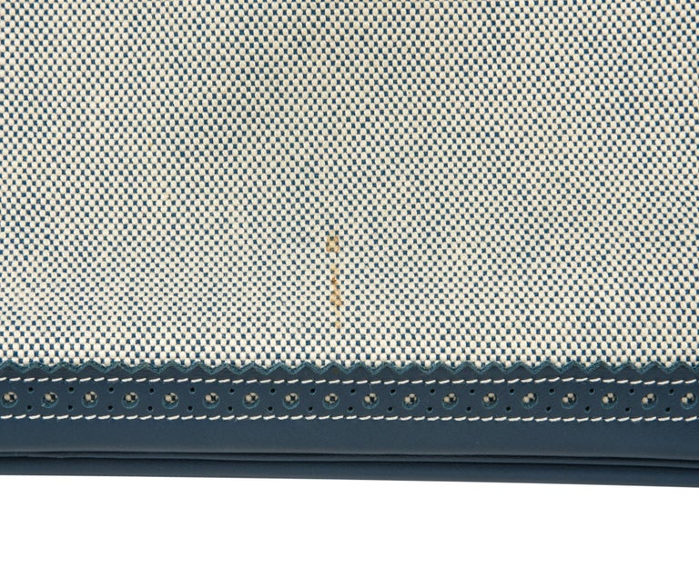 Hermes Birkin 40 Ghillies Bag Blue de Prusse w/ Blue Toile Palladium Hardware For Sale 9