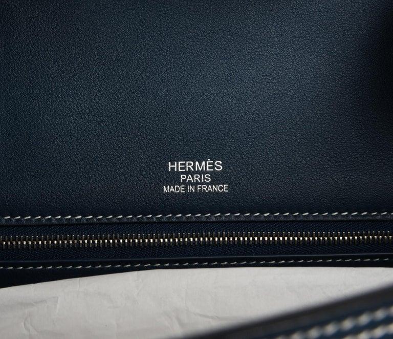 Gray Hermes Birkin 40 Ghillies Bag Blue de Prusse w/ Blue Toile Palladium Hardware For Sale