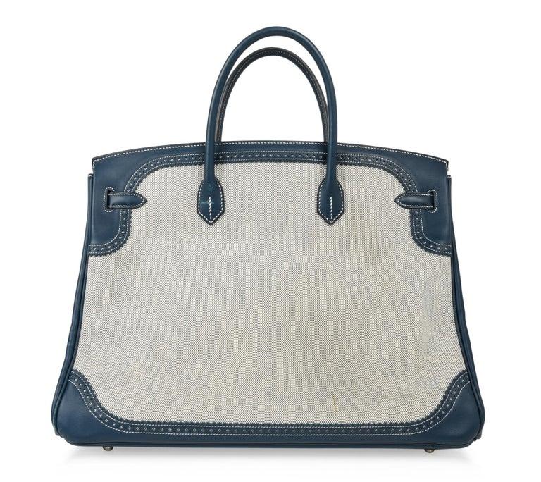 Hermes Birkin 40 Ghillies Bag Blue de Prusse w/ Blue Toile Palladium Hardware For Sale 4