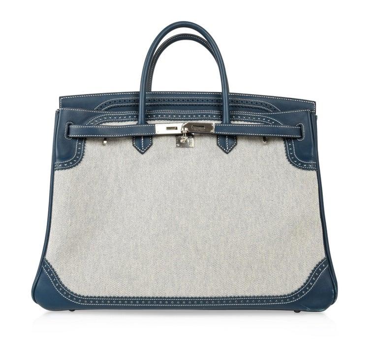 Hermes Birkin 40 Ghillies Bag Blue de Prusse w/ Blue Toile Palladium Hardware For Sale 1