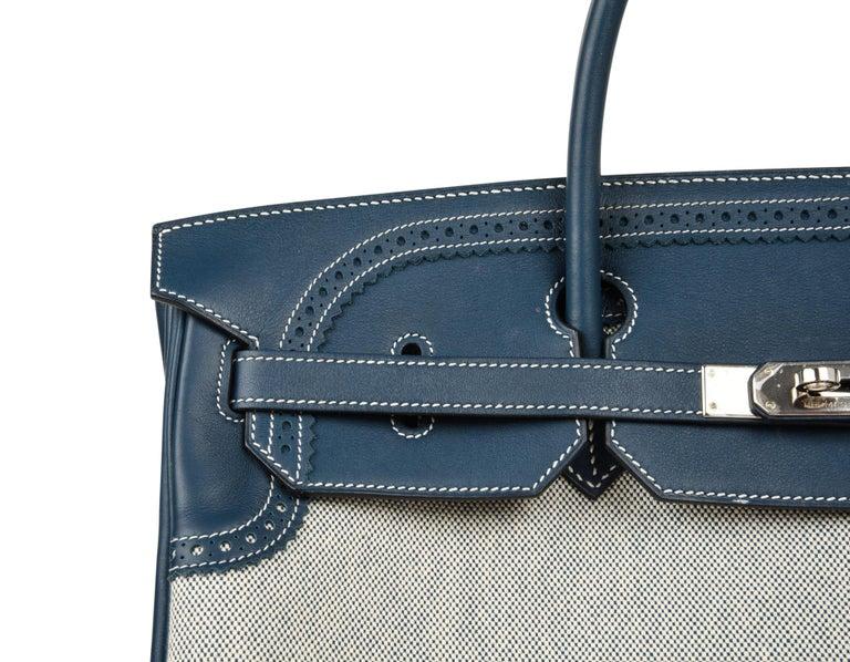 Hermes Birkin 40 Ghillies Bag Blue de Prusse w/ Blue Toile Palladium Hardware For Sale 2