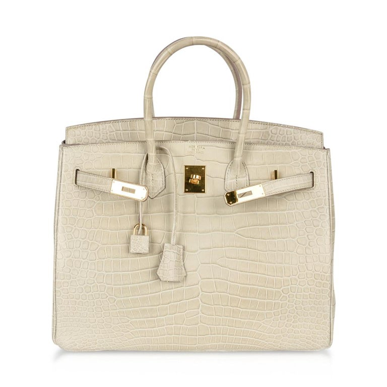 708c92f5d49aa Hermes Birkin 35 Bag Beton Matte Porosus Crocodile Gold Hardware Rare For  Sale 4